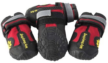My Busy Dog Water Resistant Dog Shoes with Two Reflective Fastening Straps and Rugged Anti-Slip