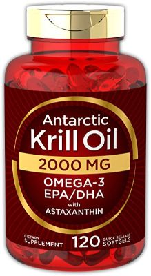 Antarctic Krill Oil 2000 mg 120 Softgels | Omega-3 EPA, DHA, with Astaxanthin Supplement