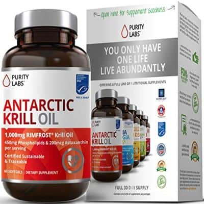 Purity Labs Wild Antarctic Krill Oil Double Strength 2,000mg per Serving 60 Softgels