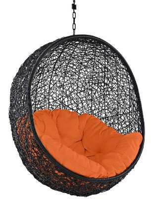 Modway EEI-739-ORA-SET Encase Wicker Rattan Outdoor Patio Balcony Porch Lounge Egg Swing Chair