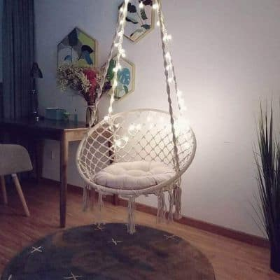 Sonyabecca LED Hanging Chair Light Up Macrame Hammock Chair