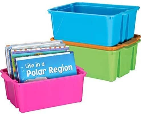 Really Good Stuff Stackable Plastic Book and Organizer Bins (Set of 4)
