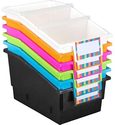 Really Good Stuff Large Plastic Labeled Book and Organizer Bin (Set of 6)