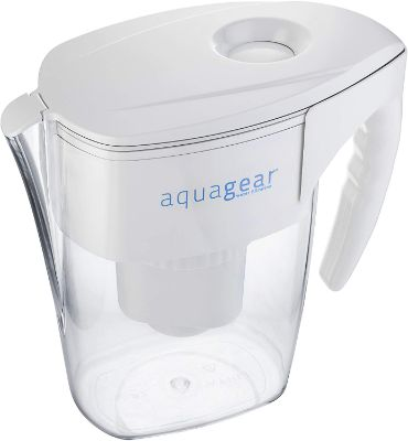 Aquagear Water Filter Pitcher -6 Filter - BPA-Free, Clear