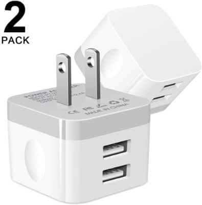 USB Wall Charger, USB Plug, Hootek 2Pack 2.4A Dual Port Wall Charger Block