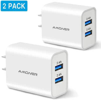 Amoner 2Pack 24W 2-Port USB Wall Charger