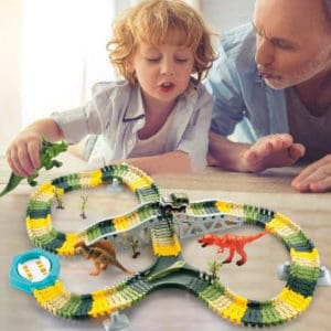HOMOFY Dinosaur Toys 192Pcs Race Car Flexible Track