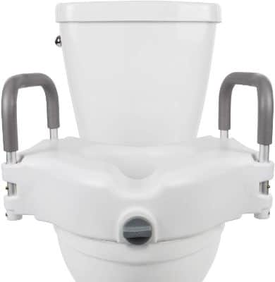 Vive Raised Toilet Seat - 5 Portable, Elevated Riser with Padded Handles - Elongated and Standard Fit