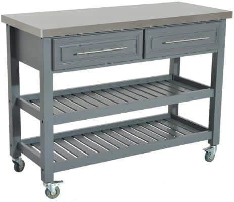HomCom 47 3 Tier Stainless Steel Rolling Kitchen Cart