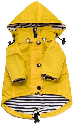 Ellie Dog Wear Yellow Zip Up Dog Raincoat with Reflective Buttons, Pockets