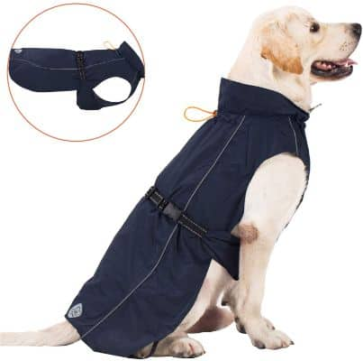 Pro Plums Dog Raincoat Adjustable Lightweight Jacket with Reflective Straps