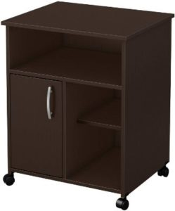 South Shore 1-Door Printer Stand with Storage on Wheels, Chocolate