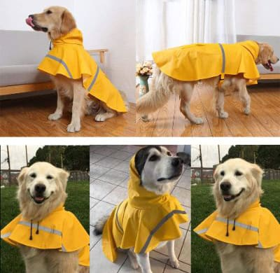 NACOCO Large Dog Raincoat Adjustable Pet Waterproof Clothes Lightweight