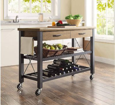 Whalen Santa Fe Kitchen Cart with Metal Shelves