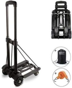 Folding Hand Truck, 70 Kg:155 lbs Heavy Duty 4-Wheel Solid Construction Utility Cart