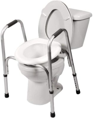PCP Raised Toilet Seat and Safety Frame (Two-in-One), Adjustable Rise Height