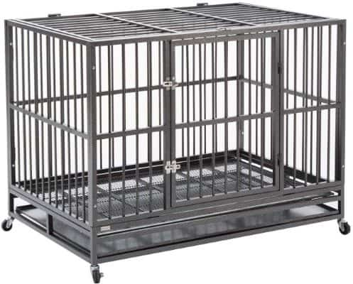 Sliverylake Dog Cage Crate Kennel - Heavy Duty Double Door Pet Cage