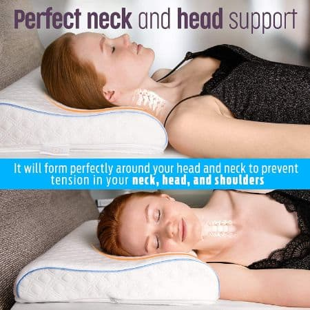 #1. Adjustable Ergonomic Contour Pillow With Cover