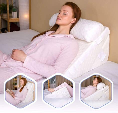 #1. Memory Foam Wedge Pillow With Adjustable Head