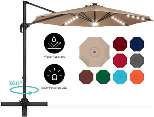 Offset Patio Umbrella With LED Lights