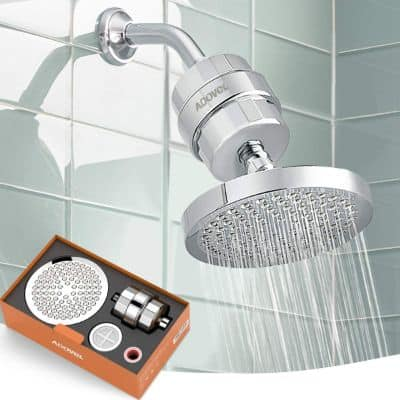 High Output Shower Head and Hard Water Filter
