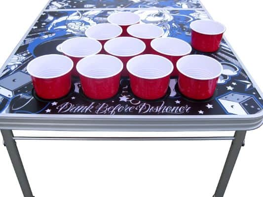 Tattoo Portable Beer Pong Table with Holes