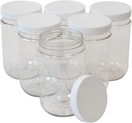 16 Oz Clear Plastic Mason Jars With Ribbed Liner Screw On Lids