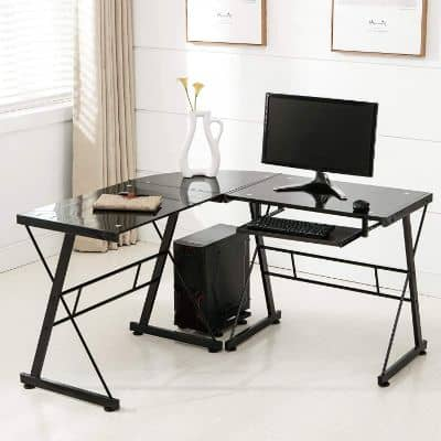 L Shaped Tempered Glass Computer Desk W:Keyboard Tray & CPU