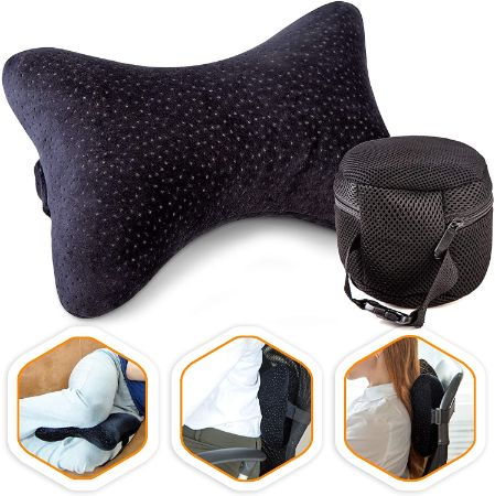 Portable Memory Foam Neck Pillow With Carry Bag