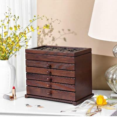 Large Jewelry Organizer Wooden Storage Box 6 Layers Case with 5 Drawers
