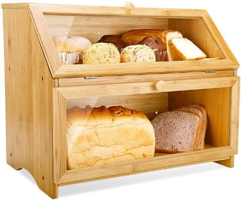 Double Layer Large Bread Box for Kitchen Counter Wooden
