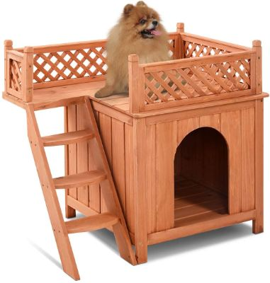 Pet Dog House, Wooden Dog Room Shelter with Stairs