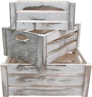 Rustic White Set of 3 Distressed Decorative Wood Crates