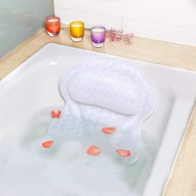 Luxury Bath Pillow with 6 Strong Suction Cups for Tub