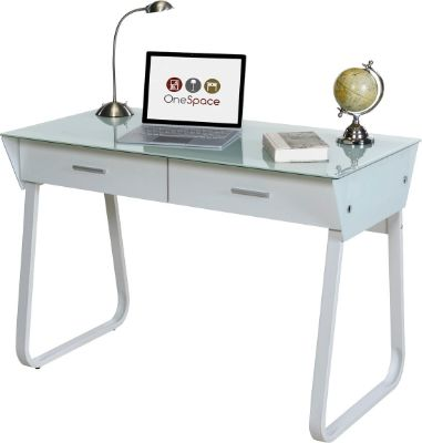 Ultramodern Glass Computer Desk with Drawers