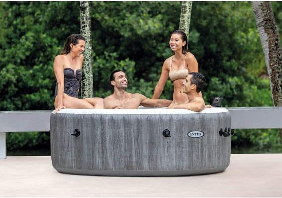 28439E Greywood Deluxe 4 Person Inflatable Spa Hot Tub