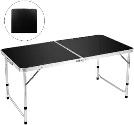 Folding Camping Table, 4 FT Aluminum Height Adjustable