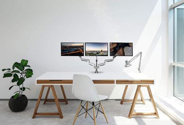 TechOrbits Three Monitor Stand Mount - SmartSWIVEL - Triple Computer Screen Desk Mount Arms