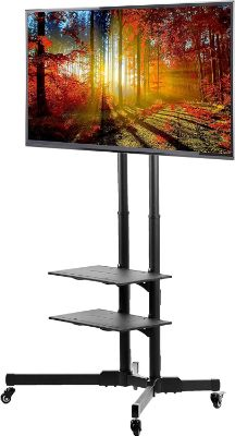 VIVO TV Cart for LCD LED Plasma Flat Panels Stand with Wheels Mobile fits 37 to 70 (STAND-TV01B)