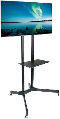 "Husky Mount Mobile TV Stand with Wheels Heavy Duty Universal Rolling TV Cart Fits Most 32"" – 70"""