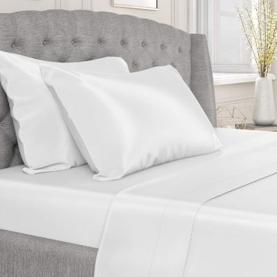 Mulberry Park Silks - King Silk Sheet Set (17 Pocket) - White - Deluxe 22 Momme 100% Pure Mulberry