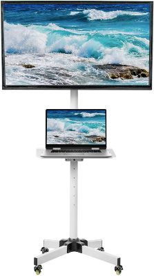 VIVO Mobile TV Cart for 23-55-inch LCD LED Plasma Flat Panel Screen TVs up to 55 lbs | Pro Height Adjustable