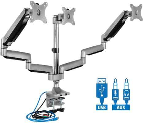 Mount-It! Triple Monitor Mount | Desk Stand with USB and Audio Ports | 3 Counter-Balanced Gas Spring