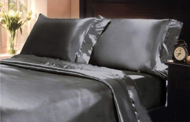 Mk Collection 4pc Soft Silky Satin Solid Color Deep Pocket Sheet Set (Dark Grey:Charcoal, Queen)