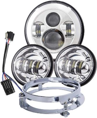 Dot Approved Chrome 7inch LED Headlight with 4.5inch Matching Chrome Passing Lamps for Harley Motorcycles