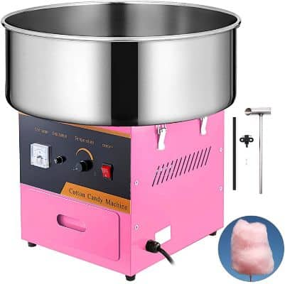 VBENLEM Electric Candy Floss Maker 20.5 Inch Cotton Candy Machine Pink Cotton Candy Maker Commercial