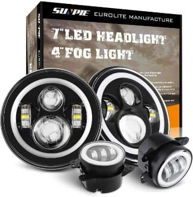 7 Inch LED Halo Headlights with Turn Signal Amber DRL White+ 4 '' Halo Fog Lights