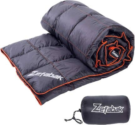Zefabak Camping Down Blanket with European Standard 90% Down Blend & Puffy 600 Fill Power Waterproof