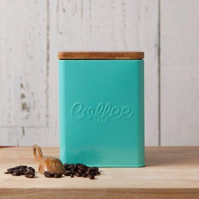 Now Designs Square Coffee Tin, Turquoise, Vintage Script Print