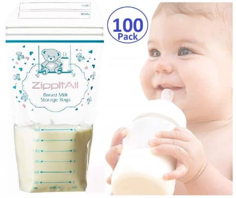 DiRose Breast Milk Storage Bags - Leak-Proof 100 Count Double Zipper 6 oz Capacity Extra Thick and Seal BPA:BPS